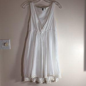 Benetton Vintage White Cotton Boho Dress M